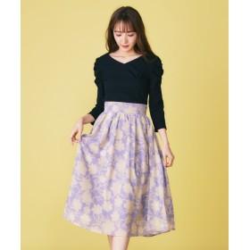 【25%OFF】 ミーア オリジナル単色フラワースカート レディース パープル F 【MIIA】 【セール開催中】