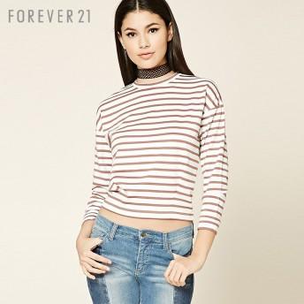 FOREVER21 フォーエバー21 【ボーダーボクシーTシャツ】(5,000円以上購入で送料無料)