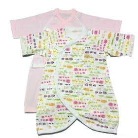 新生児 長袖コンビ肌着2枚組 スナップタイプ アニマル ピンク インナー・パジャマ 新生児・乳児(50~80cm) 長下着・コンビ肌着 (35)