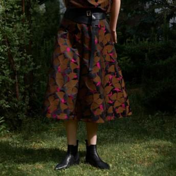 SALE【エポカ(EPOCA)】 バタフライジャガード スカート キャメル