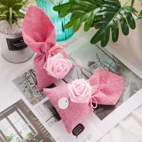 リネン 巾着袋 ギフトバッグ 麻 ジュエリーポーチ 小物入れ ラッピング プレゼント用 結婚式 誕生日パーティー バレンタイン 20枚セット