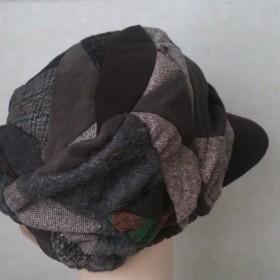 魅せる帽子☆布遊びのふんわりキャスケット(茶系)