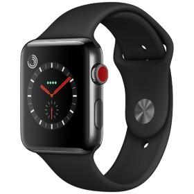 Apple Watch Series 3(GPS + Cellularモデル) 42mm スペースブラックステンレススチールケースとブラックスポーツバンド MQM02J/A