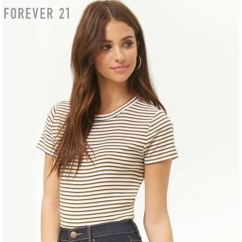 FOREVER21 フォーエバー21 マルチボーダークルーネックTシャツ