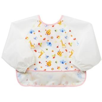 油汚れにも強い 速く乾く長袖エプロン ピンク 育児用品 お食事用品 エプロン (99)