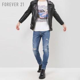 FOREVER21 フォーエバー21 【[MEN]ダメージスリムジーンズ】(5,000円以上購入で送料無料)