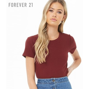 FOREVER21 フォーエバー21 リブクルーネックTシャツ