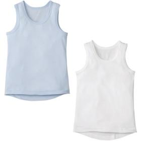 ベビー ランニング2枚組 カラー ホワイト・サックス インナー・パジャマ ベビー(70~95cm) 肌着 (64)