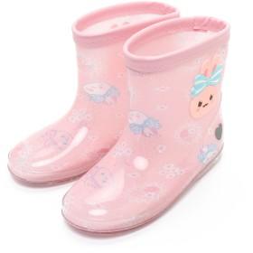 【オンワード】 Mother garden(マザーガーデン) うさもも レインブーツ 長靴 レースフラワー柄 ピンク(淡) はきもの19cm キッズ
