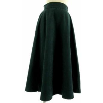 【中古】ユアーズ ur's スカート フレアスカート ロング丈 スウェード調 グリーン 緑 M レディース