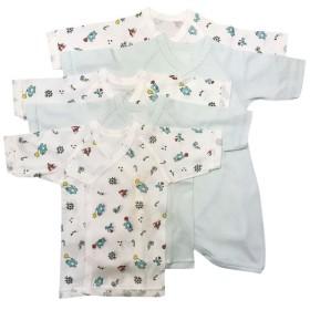 [長袖]新生児肌着5点セット スナップ サーカス サックス インナー・パジャマ 新生児・乳児(50~80cm) 新生児肌着セット (51)