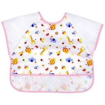 半袖エプロン 動物 ピンク 育児用品 お食事用品 エプロン (99)