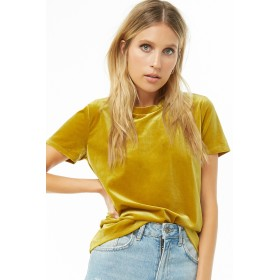 Tシャツ - FOREVER 21 【WOMEN】 ラウンドネックベロアTシャツ