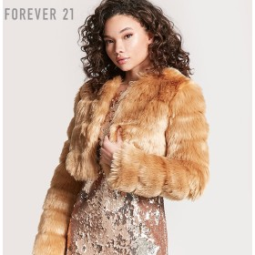 FOREVER21 フォーエバー21 【フェイクファークロップコート】(5,000円以上購入で送料無料)