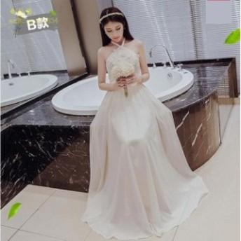 花嫁 ウェディングドレス ミニ ・ドレスベアトップ 花嫁 二次会ドレス ロングドレス 結婚式 花柄 パーティードレス 素敵 ワンピース 披露
