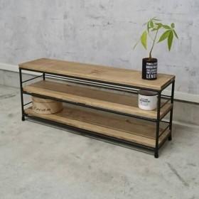 鉄と天然木の3段シェルフ(小) アイアン家具 ラック 棚 ディスプレイ