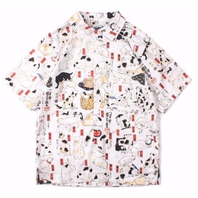 歌川国芳 浮世絵猫百景 Aloha shirt シャツ L