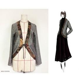 【1点もの・デザイン画付き】ゴブラン織り×ツイードジャケットカーディガン(KOJI TOYODA)