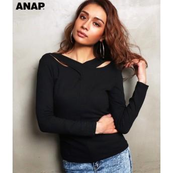 【セール開催中】ANAP(アナップ)クロスデザインリブトップス