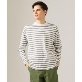 【オンワード】 J.PRESS MEN(ジェイ・プレス メン) 天竺ボーダー クルーネックTシャツ ライトグレー XL メンズ 【送料無料】
