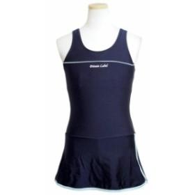 スクール水着 女の子 キッズ ジュニア 子供 ノースリーブ ワンピース スイミング 女子 学校 プール 水着 紺 全2色