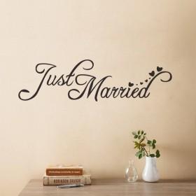 ウォールステッカー ウォールシール 転写式 壁紙シール Just Married 英語 筆記体 ウォールデコレーション 壁面装飾 インテリア おしゃれ