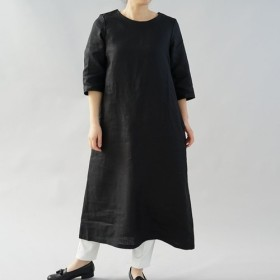 【wafu】中厚 リネン ワンピース ロング丈 ラウンドネック Aライン 7分袖 /ブラック a032d-bck2