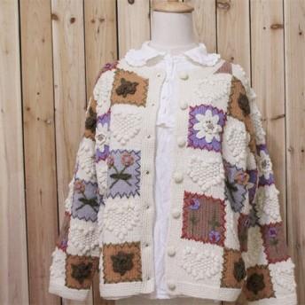 【受注製作】 カーディガン 花柄 セーター ニット SW03