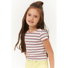 Tシャツ - FOREVER 21【KIDS】 【ボーダーリブニット】 子供服 女の子 tシャツ カットソー 白 ホワイト 半袖