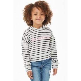 パーカー - FOREVER 21【KIDS】 【Influencerグラフィックボーダーパーカー】 子供服 女の子 スウェット パーカー トレーナー 白 ホワイト 長袖