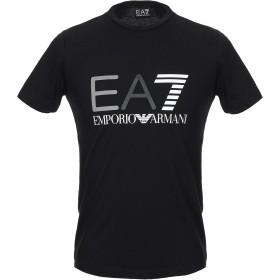 《期間限定 セール開催中》EA7 メンズ T シャツ ブラック XXS コットン 100% TRAIN LOGO SERIES M TEE ST 1