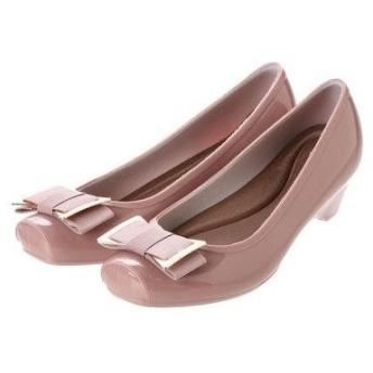 ブリジット バーキン Bridget Birkin 金具デザインリボンレインパンプス (ピンク)