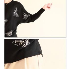 18910b22aa517 ニット・セーター - Sawa a la mode キラキラ蝶が舞うシンプル。トップス ニット