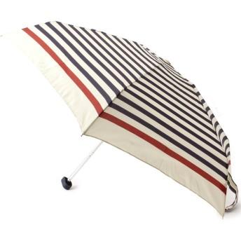 passage mignon(パサージュ ミニョン) 【UVカット80%以上・晴雨兼用・ポーチ付き】ボーダー柄折り畳み傘