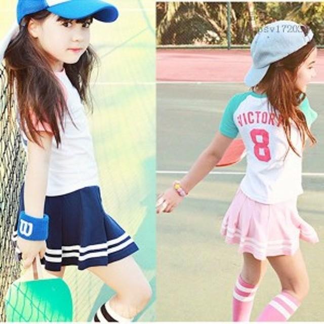 501f482be340b 子供服 2点セット 半袖Tシャツ 女の子 キッズ ショートスカート 女の子 トップス 夏 ボトムス