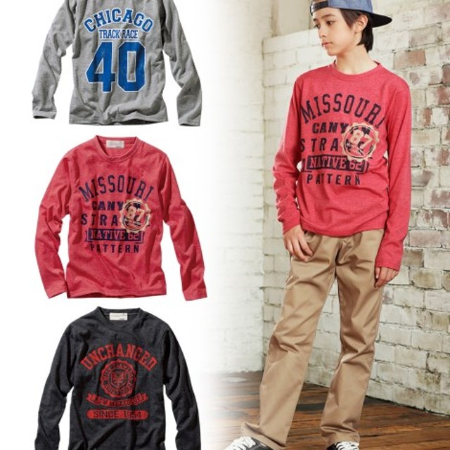 b24fdd7070f6d 綿混プリント長袖Tシャツ3枚組(男の子。女の子 子供服。ジュニア服) T ...