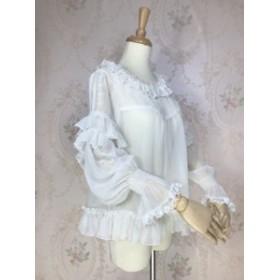 ロリータシフォン長袖ブラウス まくってもかわいい シースルー 姫袖 シャーリング 甘ロリ 白ロリ ロリータファッション ホワイト ベージ