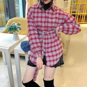 シャツ - G & L Style レディース トップス 長袖 シャツ チェック ビッグ ペアルック 羽織 秋冬 チェックシャツ 5584