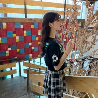 Tシャツ - G & L Style レディース 長袖 トップス カットソー シンプル カジュアル ロゴプリント 半袖Tシャツ 5579