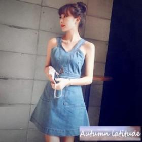 レディース激安 新作 新品 かわいい シルエット 安い 女性 無地 ワンピース デニム ファッション スタイル