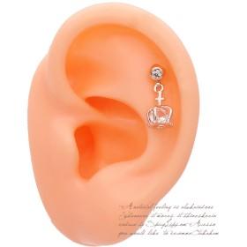 ピアス - スパイシーリップス [16G 14G ]コロンと可愛い ピンク クラウン ♪王冠 の中のCZ が繊細に煌く.ヘリックス 0027 ボディピアスボディーピアス 軟骨ピアス