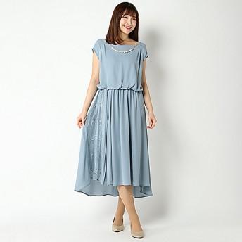 SALE ジョーゼット配色イレヘムドレス(レディース) ブルー