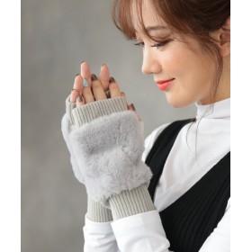 手袋 - DONOBAN 手袋 リブニットファーグローブ アームウォーマー ハンドウォーマー 指あき 無地 レディース DONOBAN SELECT GSP