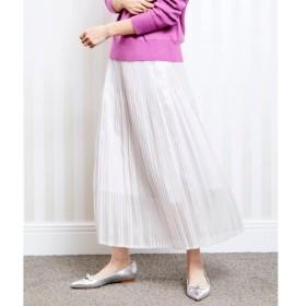 le.coeur blanc / ルクールブラン シャイニーシャンブレークリスタルプリーツスカート