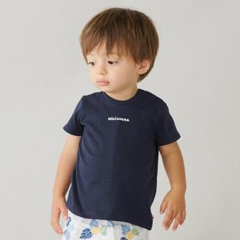 ミキハウス ロゴ刺しゅう入り半袖Tシャツ 紺