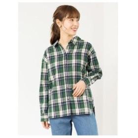 グリーンパークス Green Parks カジュアルチェックBIGシャツ (Green)