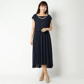 SALE ジョーゼット配色イレヘムドレス(レディース) ネイビー