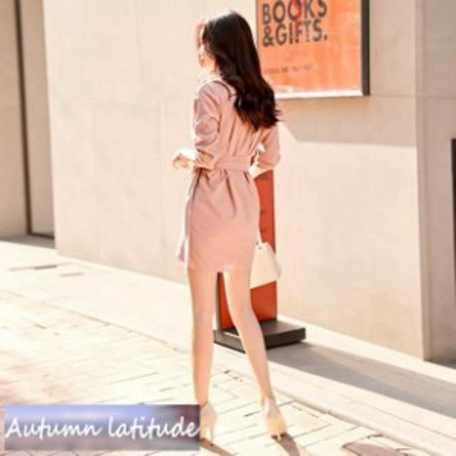 コート風で大人っぽくドレス★イベント パーティー ワンピ 長袖 ドレス 上品 コート風 キャバ リボン 二次会 Vネック ワンピース タイト