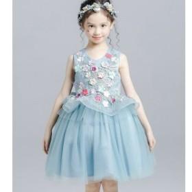韓国子供服 女の子 ワンピースドレス ウエディングドレス ワンピース レースドレス ワンピースュ ハイウエスト リボンレベル 演奏会 チュ