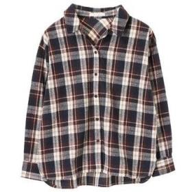グリーンパークス Green Parks カジュアルチェックBIGシャツ (Brown)
